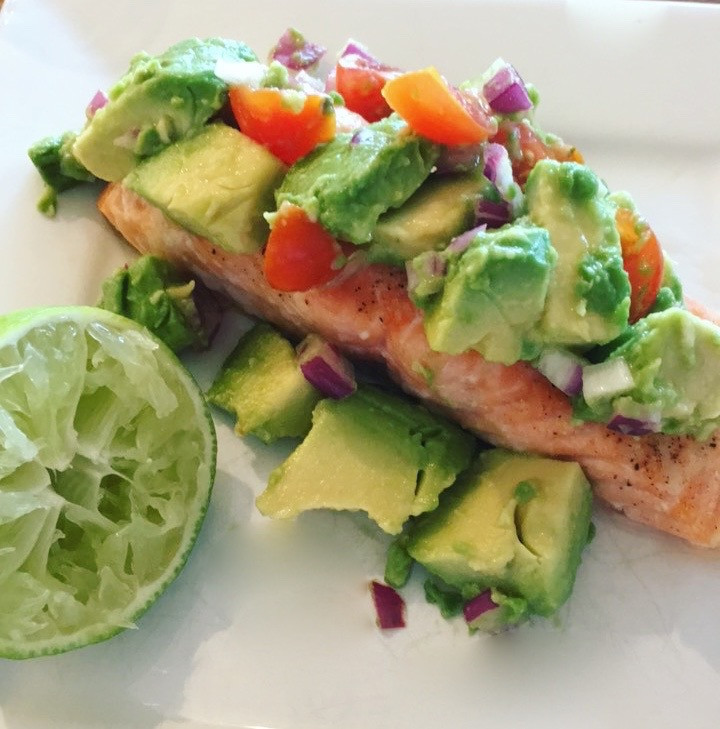 Roasted Lime Salmon with AvocadoSalsa